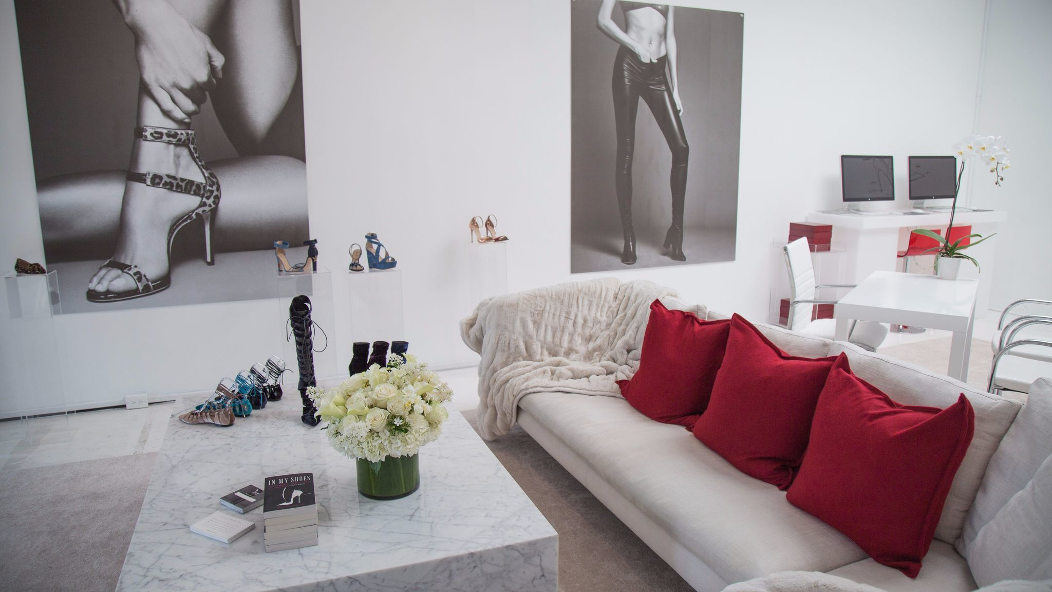 A look inside footwear label Tamara Mellon's temporary store in Los Angeles.