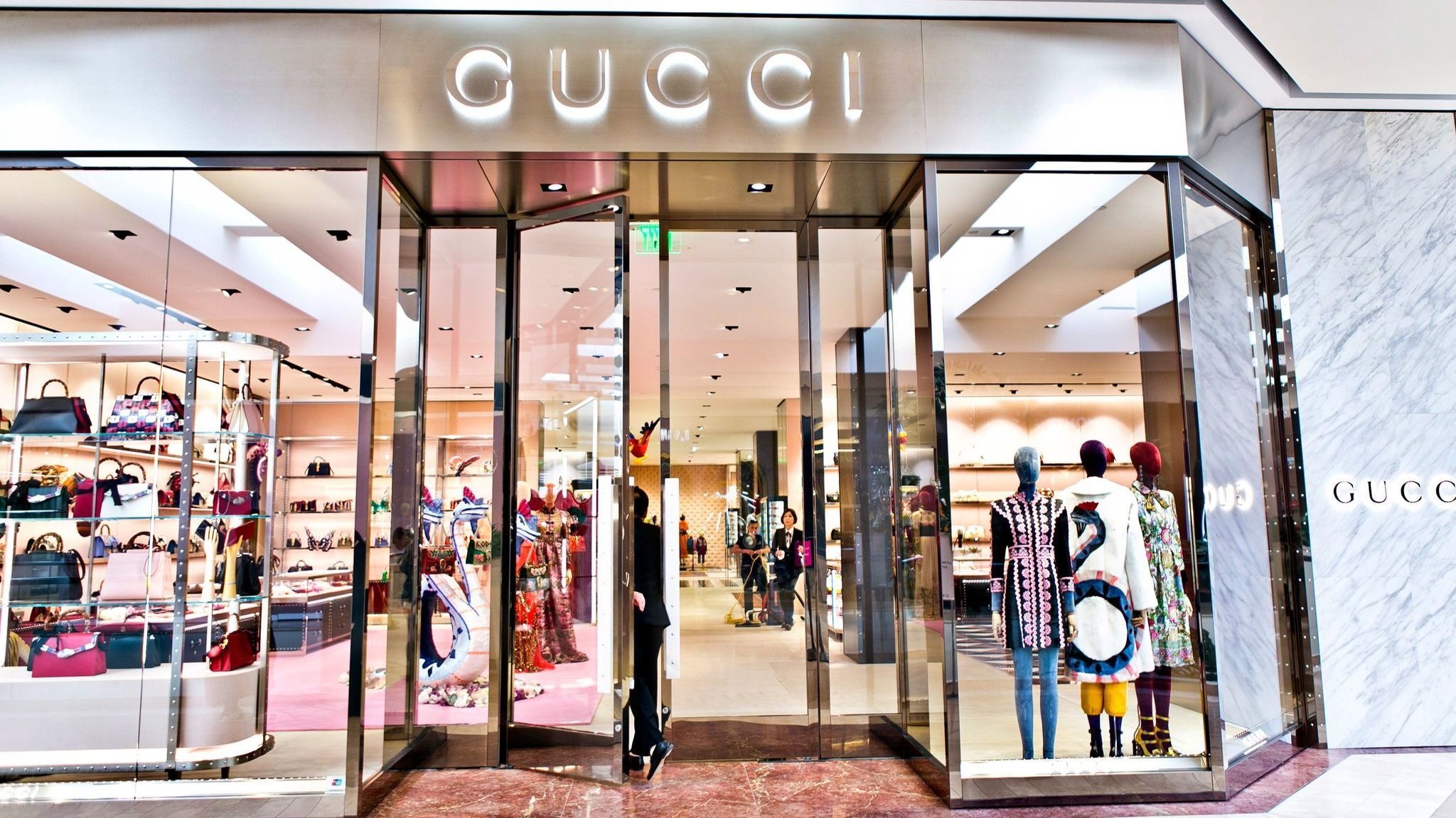 The facade of the renovated Gucci store at South Coast Plaza, the third SoCal store for the Italian luxury label, first opened in 1985.