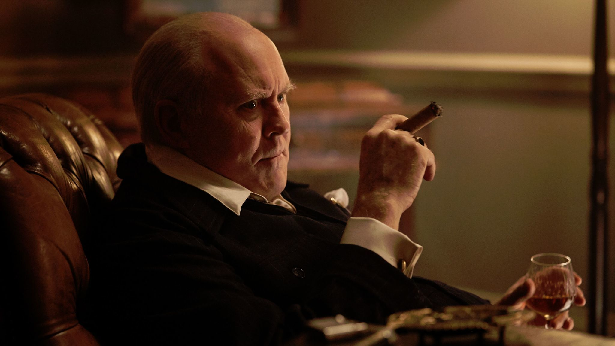 "John Lithgow as Winston Churchill in ""The Crown."""