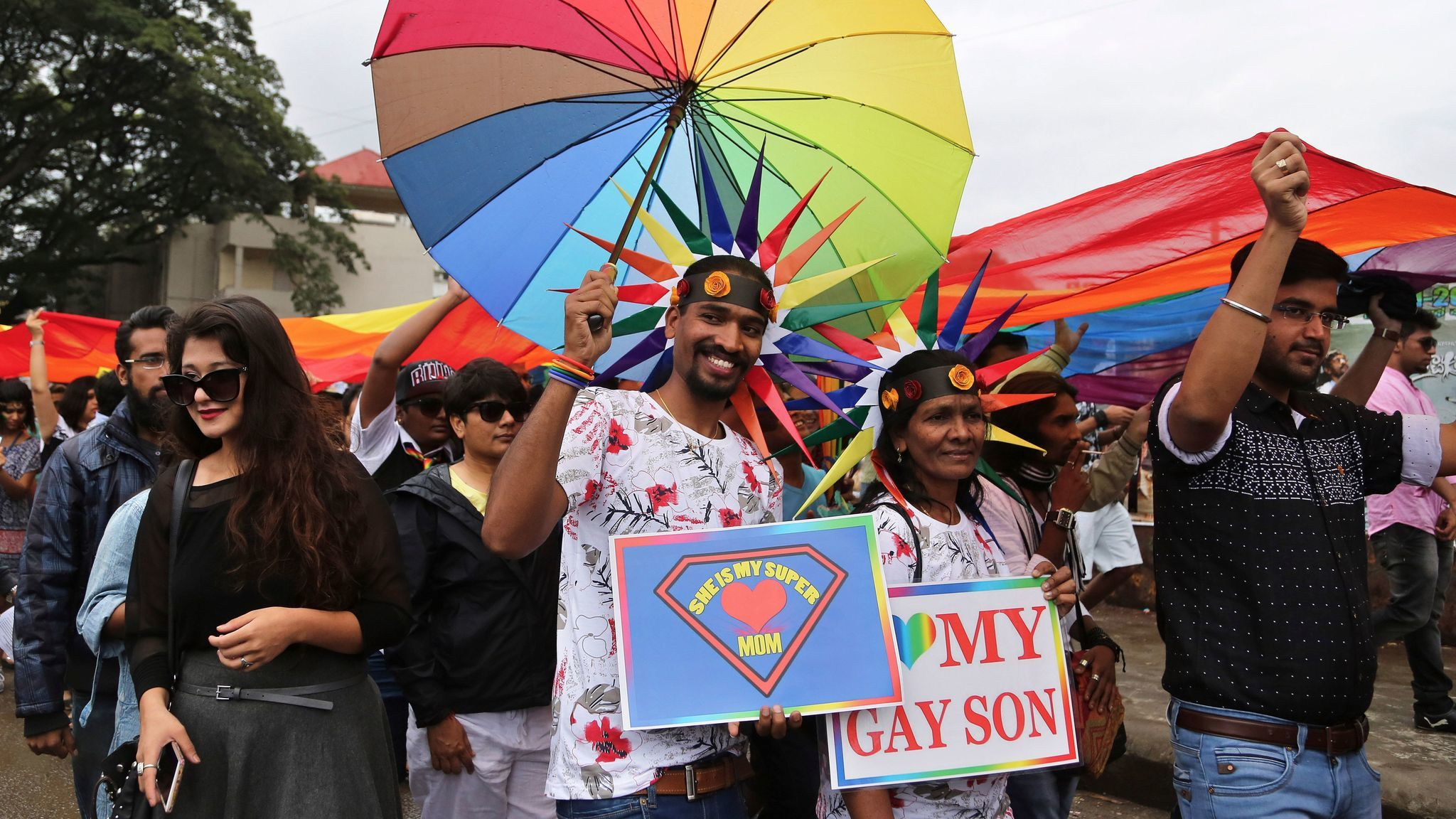 Members and supporters of the LGBTQ community participate in a Pride March in Bangalore, India.