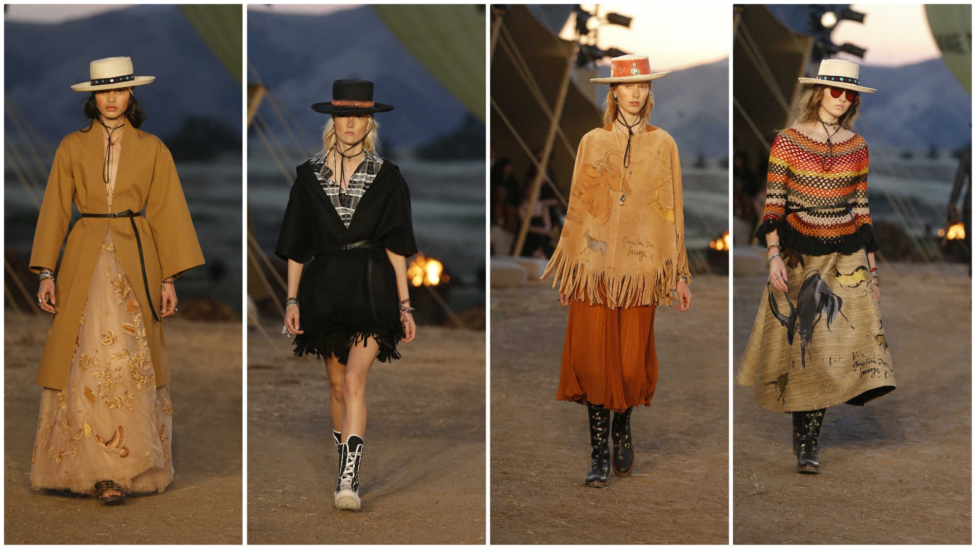 The Dior 2018 cruise collection was heavy on the Southwestern vibe with lots of belted coats, western fringe and a recurring woven-blanket stripe.