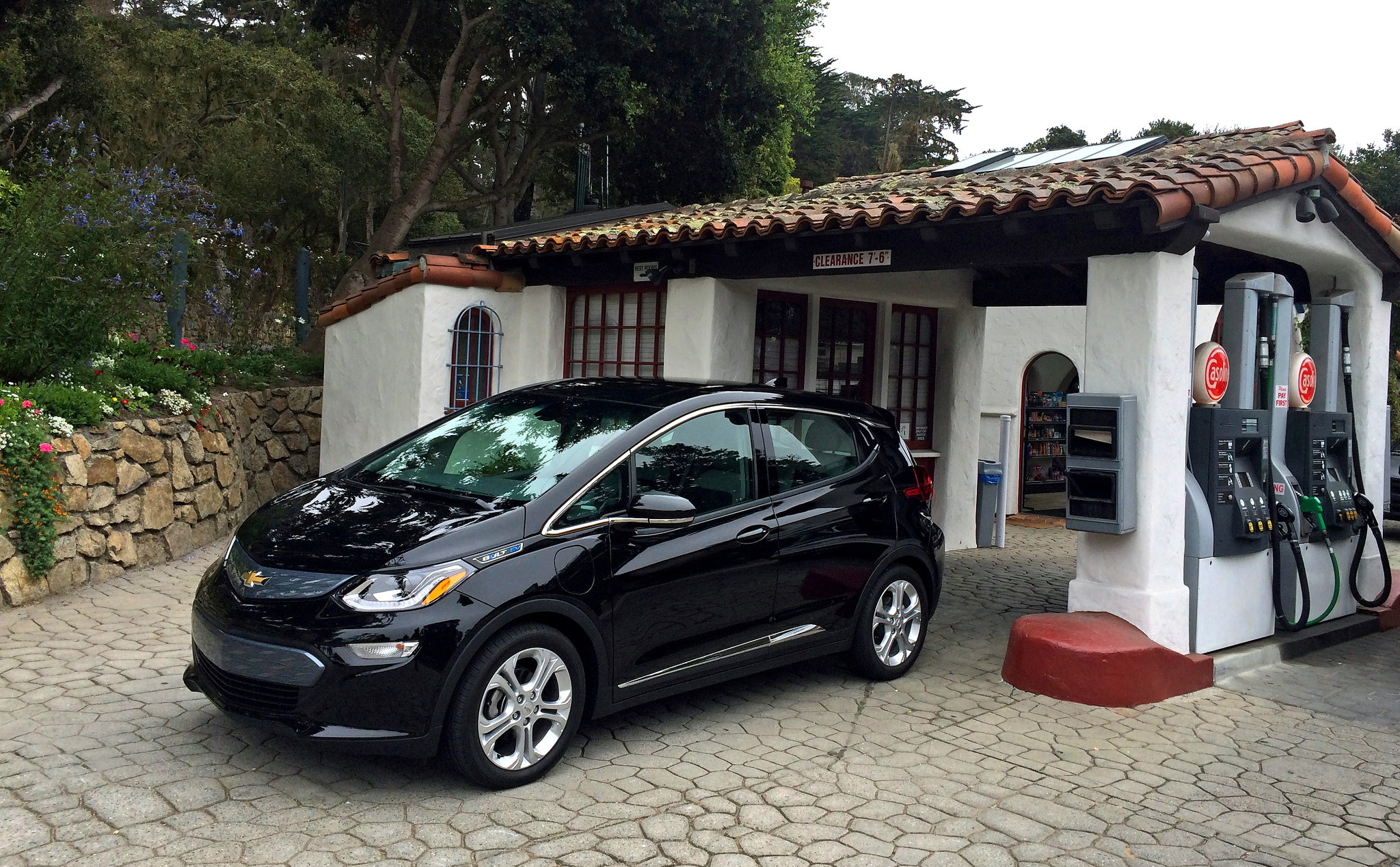 No gas required: The plug-in Bolt EV charges at the rate of about 30 miles of range per hour on a 240-volt system.