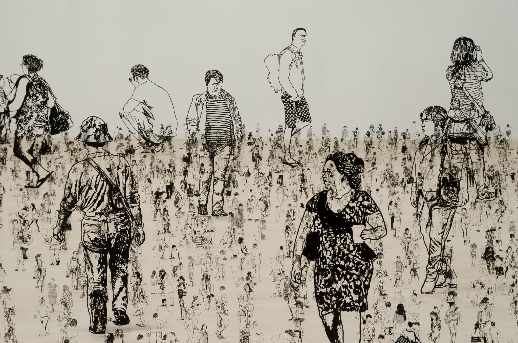 A detail of the 3,000 figures in Zadok Ben-David's installation.