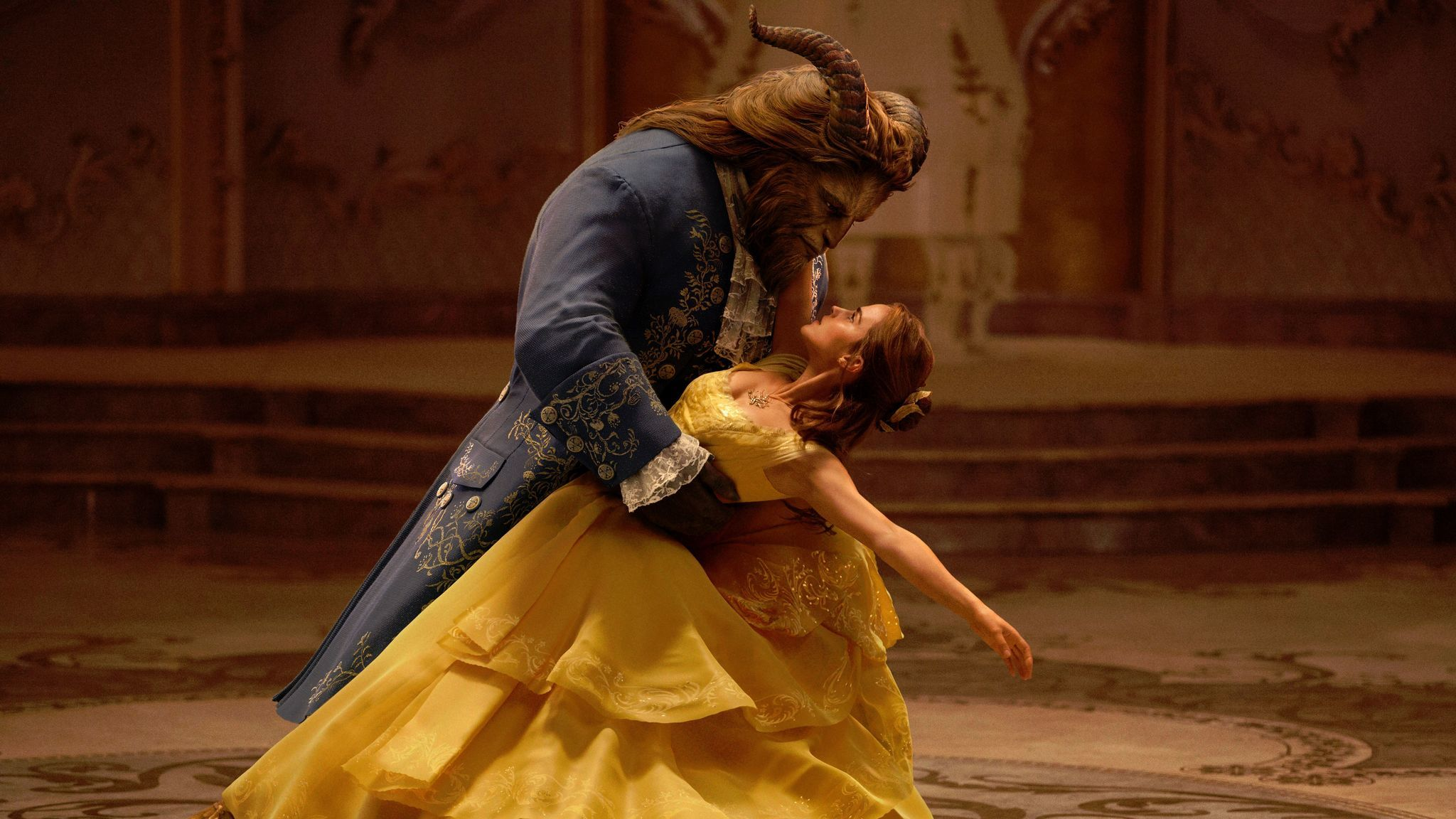 "Dan Stevens as the Beast and Emma Watson as Belle in ""Beauty and the Beast."""