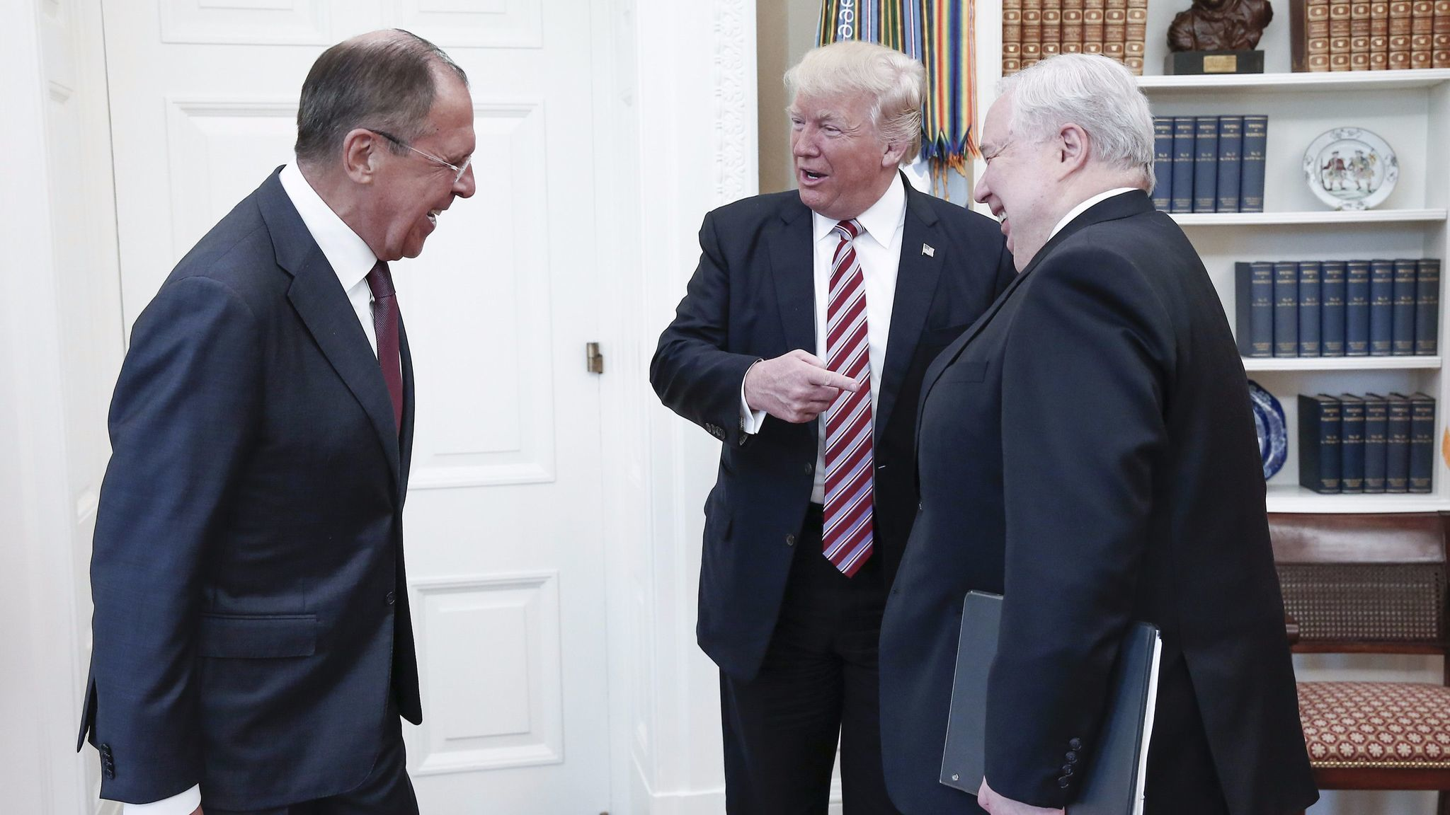 From left, Russian Foreign Minister Sergei Lavrov, President Trump and Russian Ambassador Sergey Kislyak in the Oval Office on May 10.