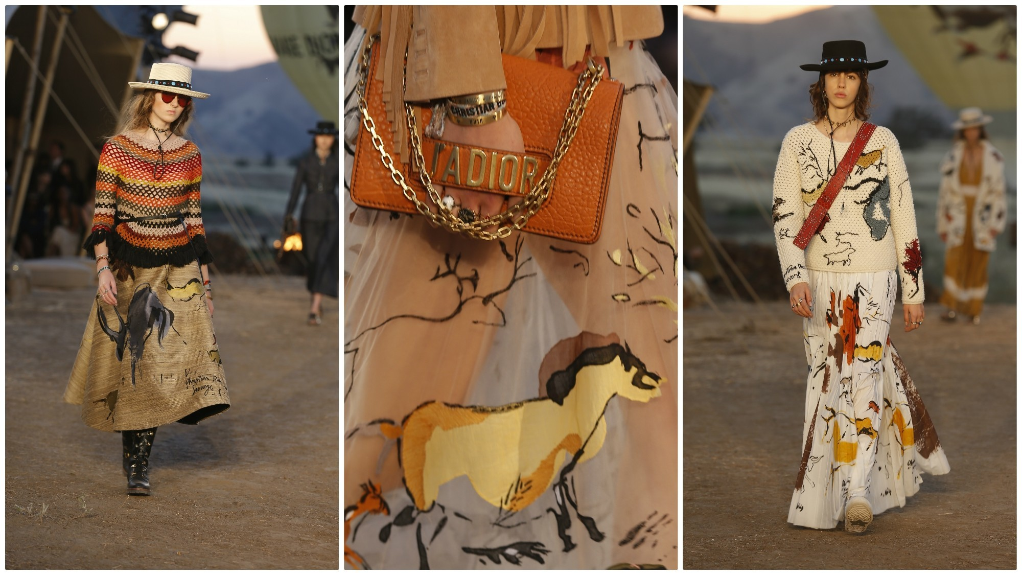 Graphics in Dior's 2018 cruise collection were inspired by the Lascaux cave paintings.