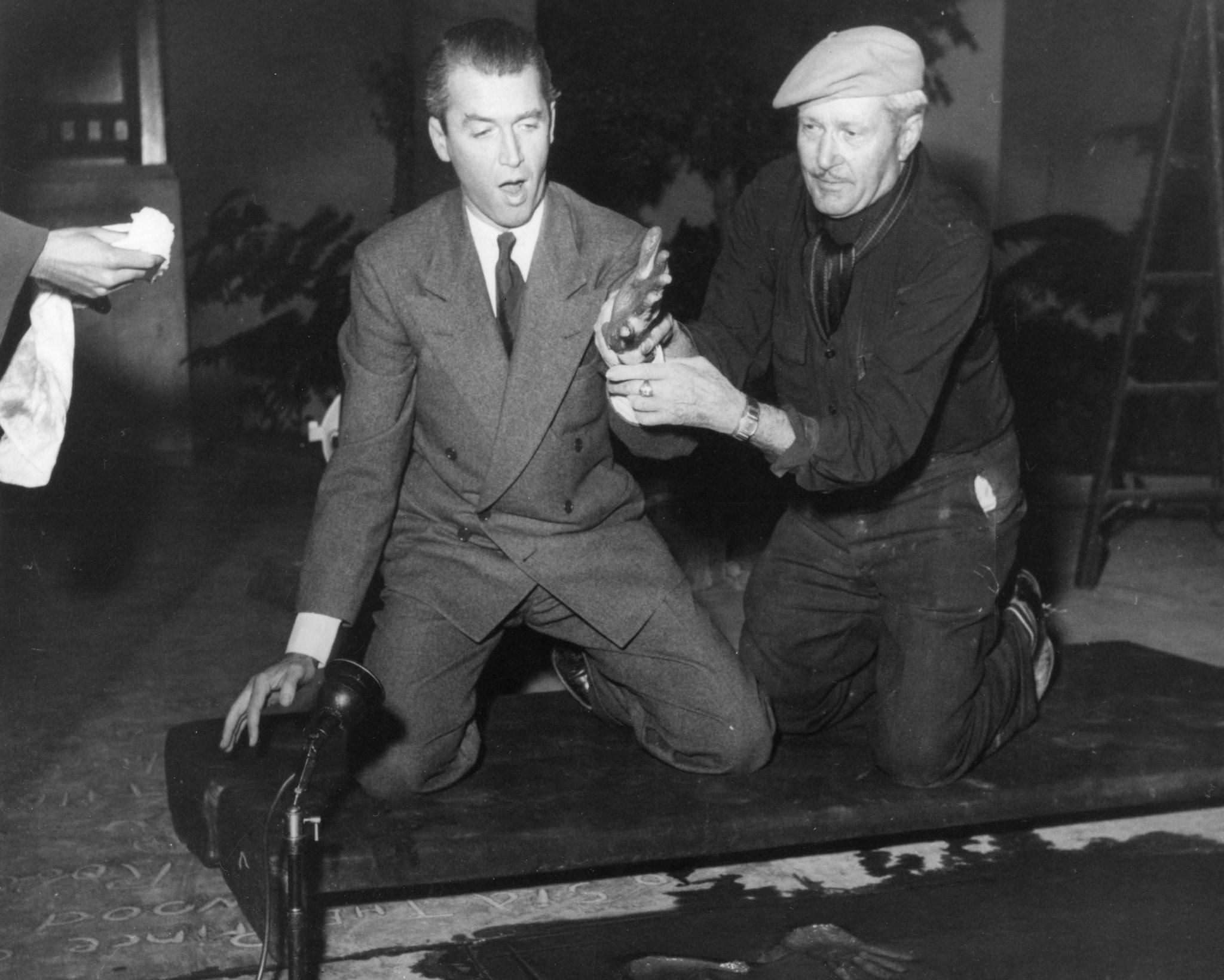 Jimmy Stewart at his handprint ceremony at the Chinese Theatre.