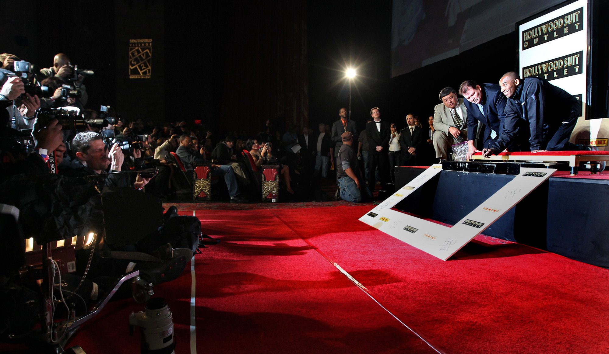 Kobe Bryant becomes the first athlete to have his hands and feet imprinted at the legendary Graumans Chinese Theater in Hollywood on Saturday, February 19, 2011.