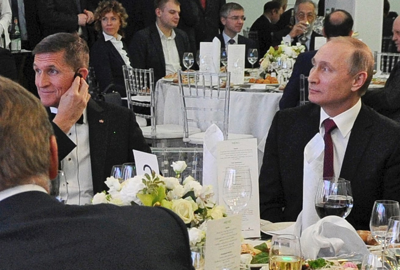 Michael Flynn and Russian President Vladimir Putin at a 2015 dinner in Moscow.