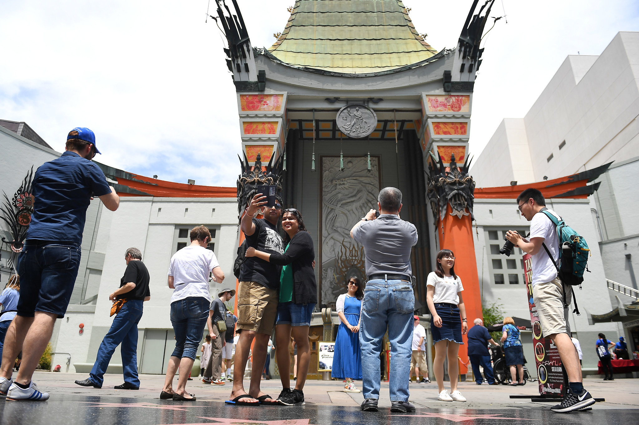 Tourists visit the TCL Chinese Theatre Imax in Hollywood on May 2.