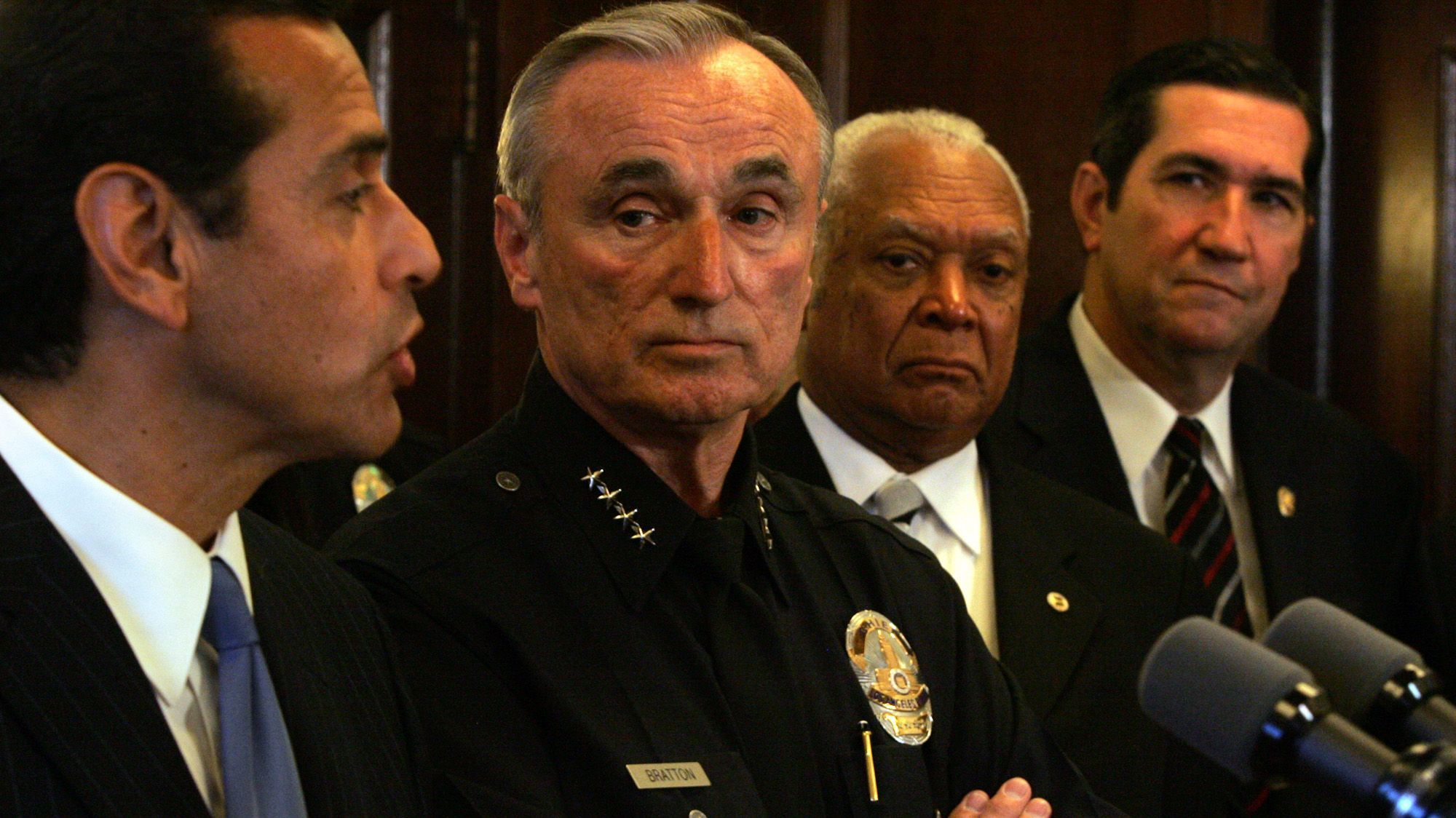 Police Chief William J. Bratton looks at Mayor Antonio Villaraigosa during a 2007 news conference at City Hall.