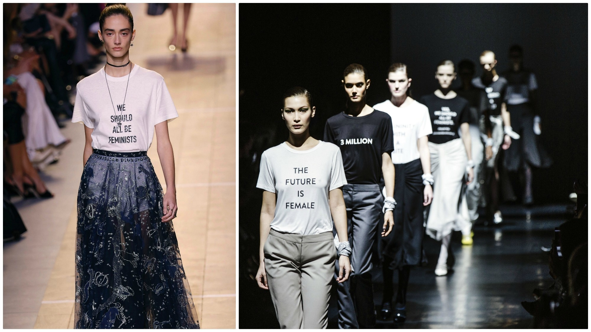 """At left, a model wears a """"We should all be feminists"""" T-shirt on the Dior runway in September 2016. At right, the Prabal Gurung runway finale at New York Fashion Week in February 2017, one of the many shows that used the runway for political messaging."""