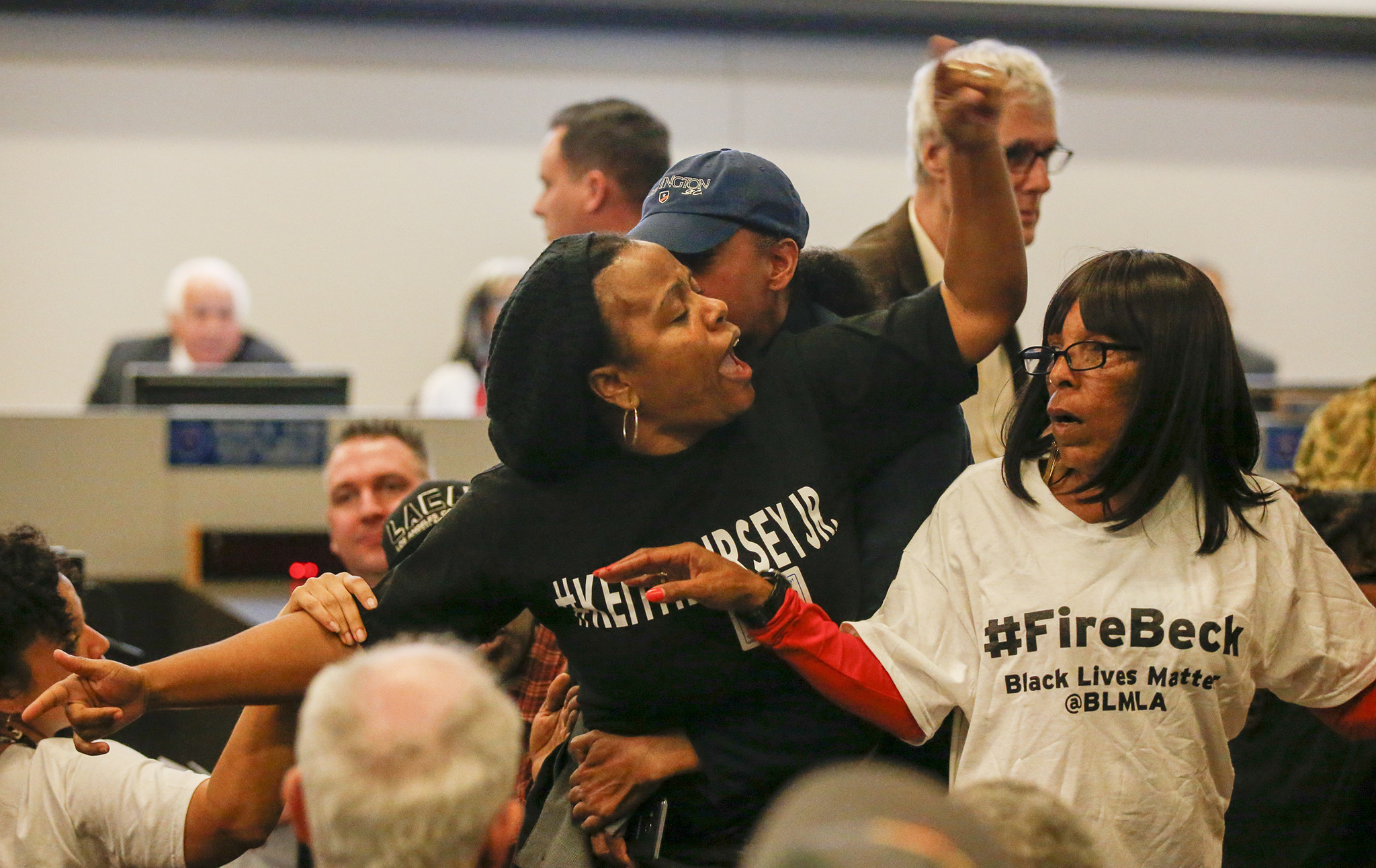 Tensions flare between family members and friends of a man killed by an LAPD officer. The Police Commission was meeting to discuss new rules for the use of deadly force.