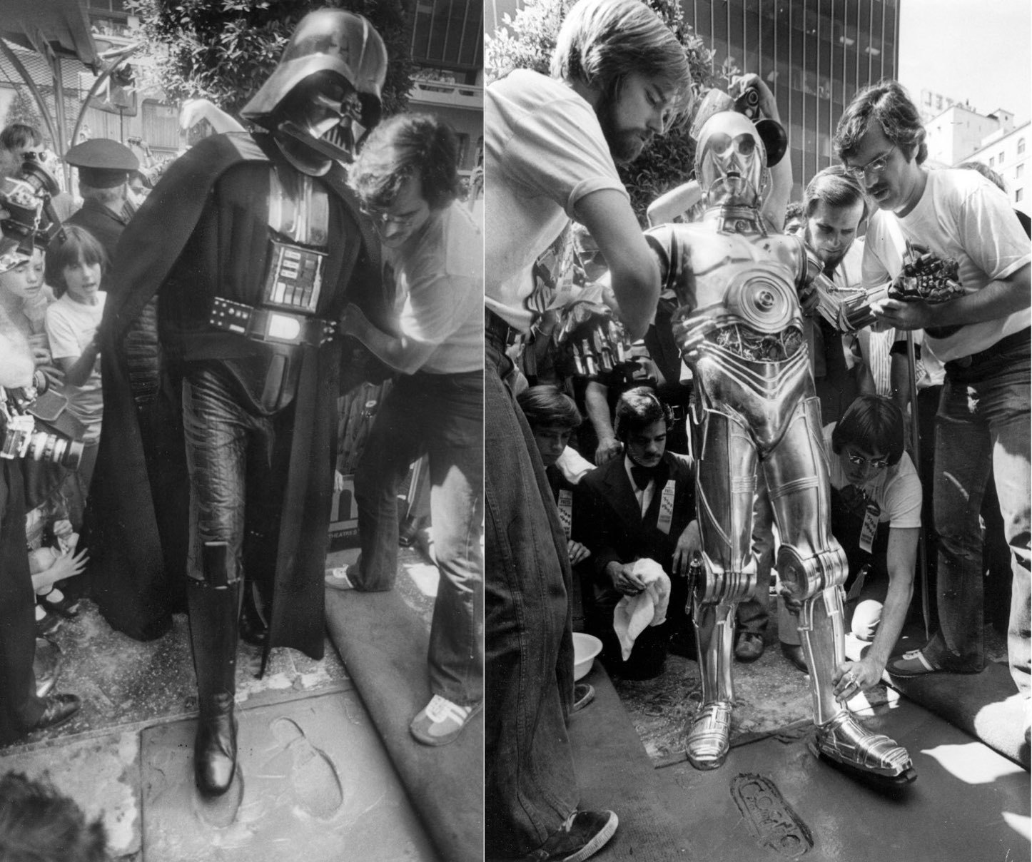 C-3PO and Darth Vader add a little science fiction to the forecourt of the stars at the Chinese Theatre on August 3, 1977.