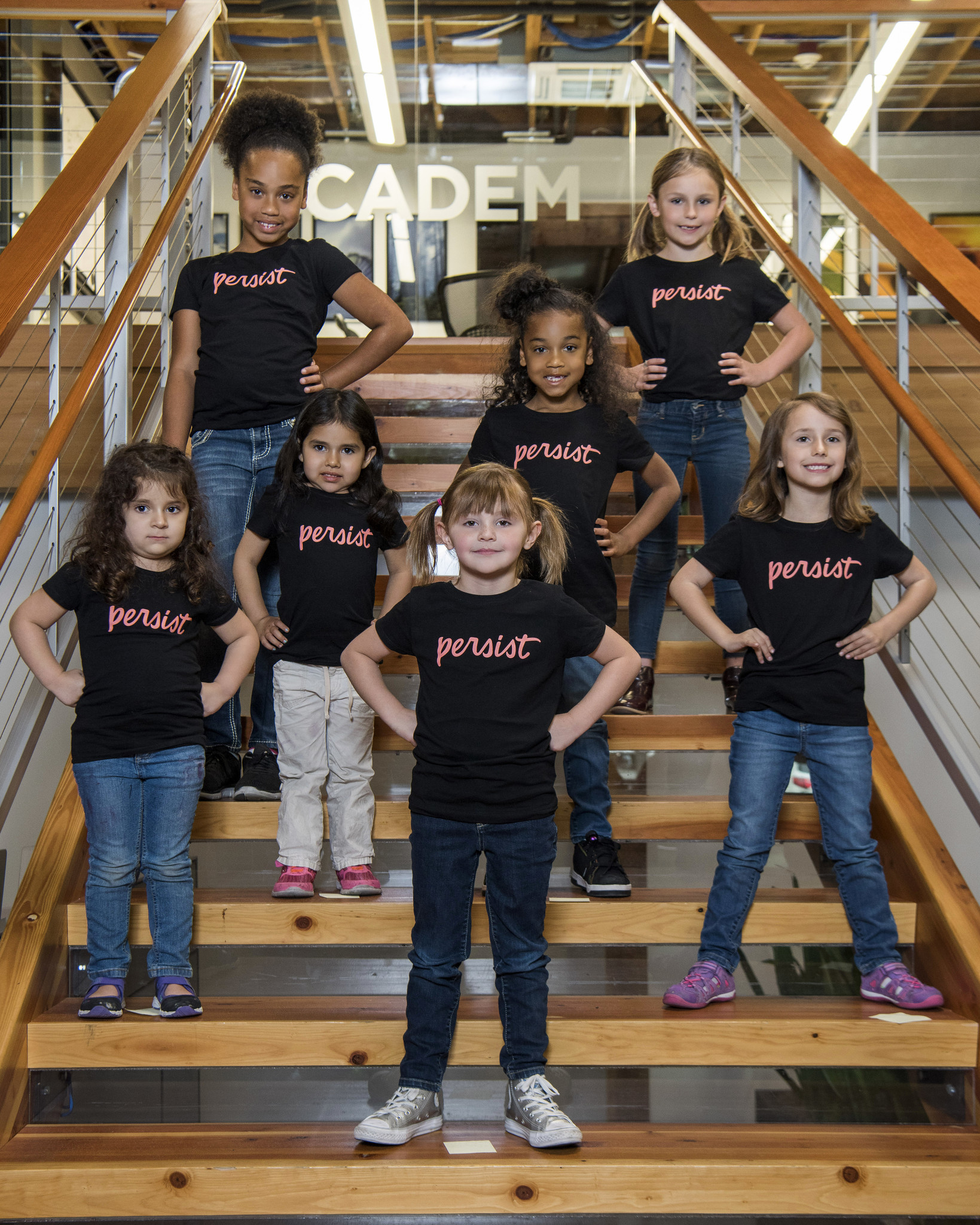 """Children of the """"Persist"""" campaigners pose at the California Democratic Party headquarters."""