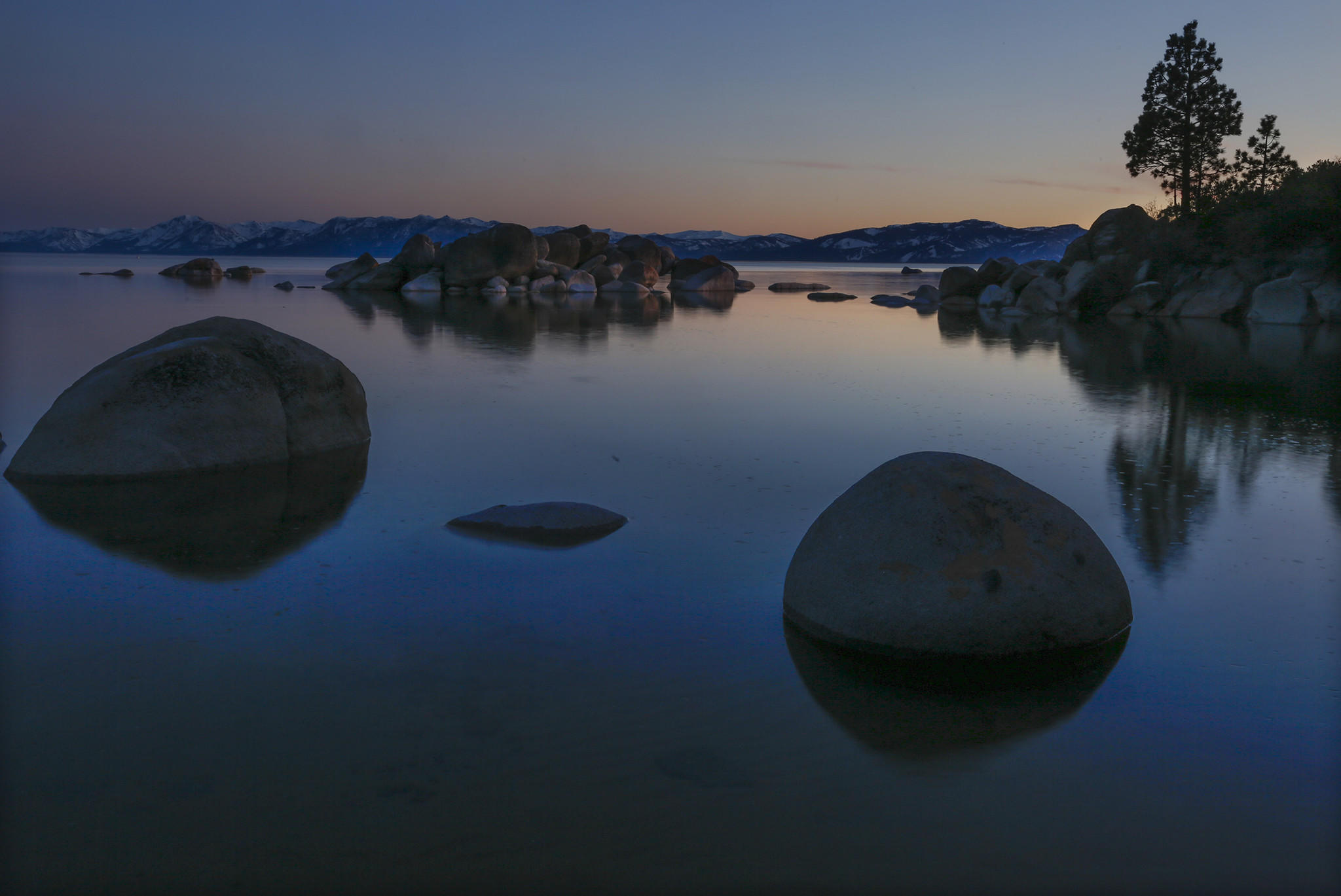 The large boulders on Speedboat Beach in North Lake Tahoe remain where Mark Twain is known to have played cards and camped.