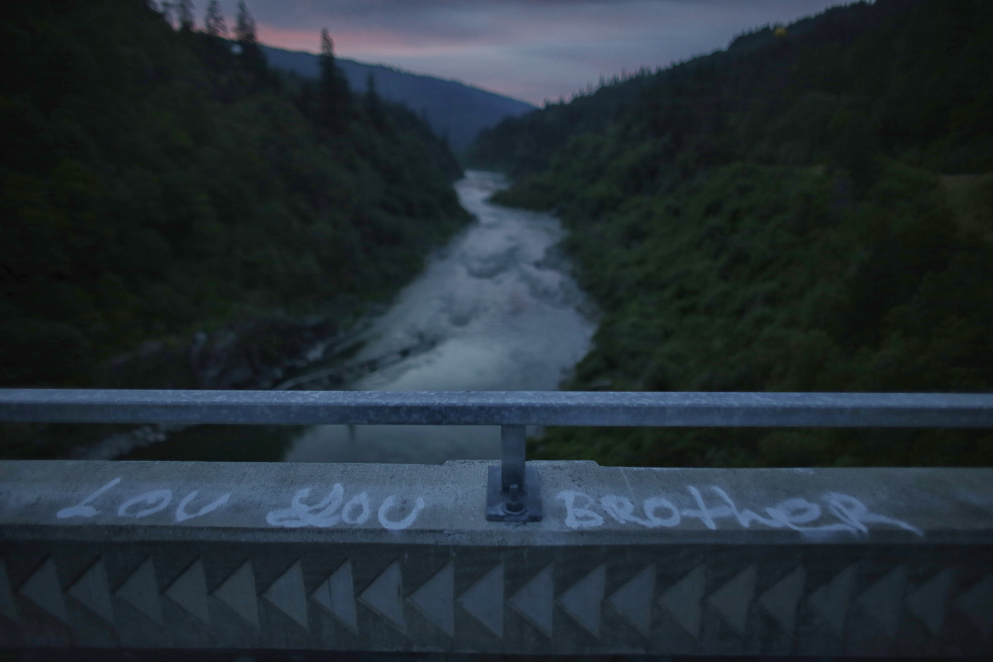 Graffiti on Maritin's Ferry bridge crossing the Klamath River.
