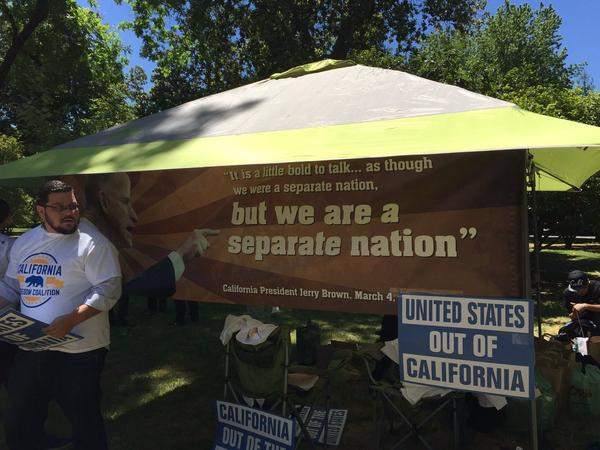 Backers for California secession gathered outside the Capitol
