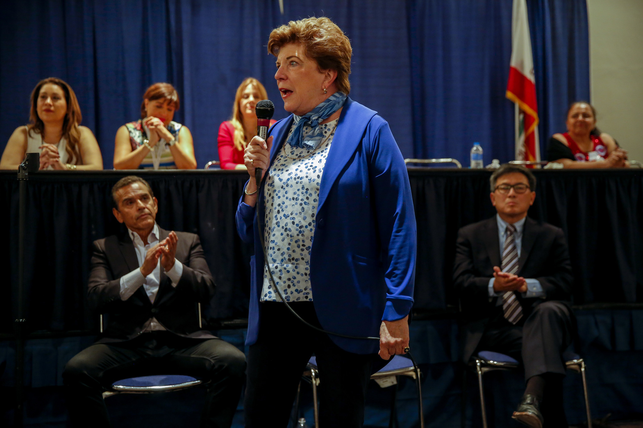 Gubernatorial candidate Delaine Eastin at the California Democratic Party convention. (Jay L. Clendenin / Los Angeles Times)