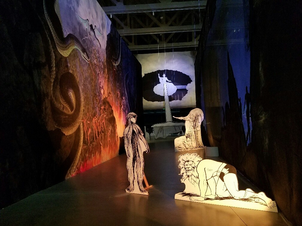 A Zeus-like George Washington floating in a cloud vacuums up souls as a lion-headed Superman and Chewbacca-Bigfoot lumber through a hell-scape in Jim Shaw's Surrealist installation.