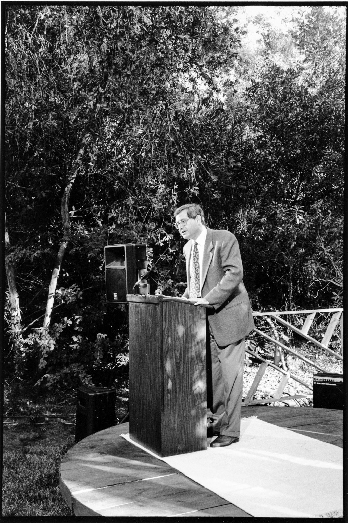 Steven Lavine delivers his first commencement address as president of CalArts in 1989.