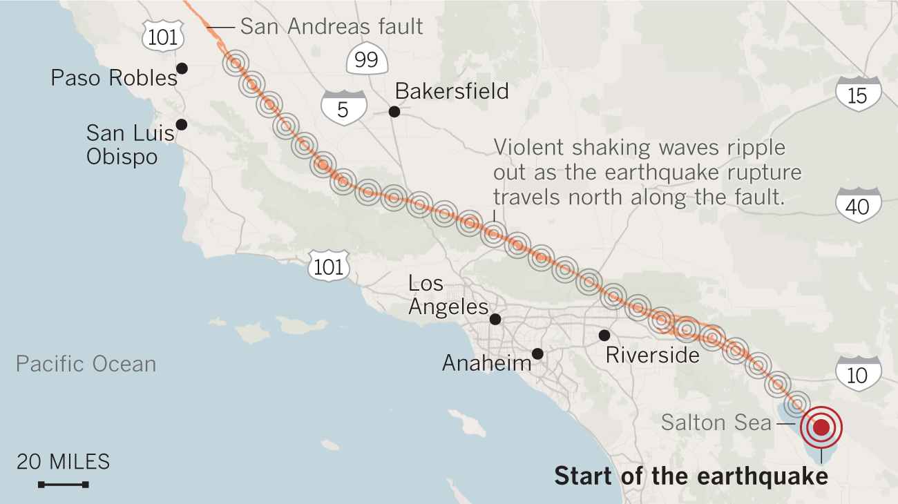 A worst-case magnitude 8.2 earthquake would rupture the entire length of the San Andreas fault, from the Salton Sea near the Mexican border through Monterey County.