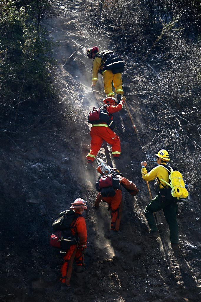 Firefighters attack Azusa Canyon blaze on Aug. 15, 2015.