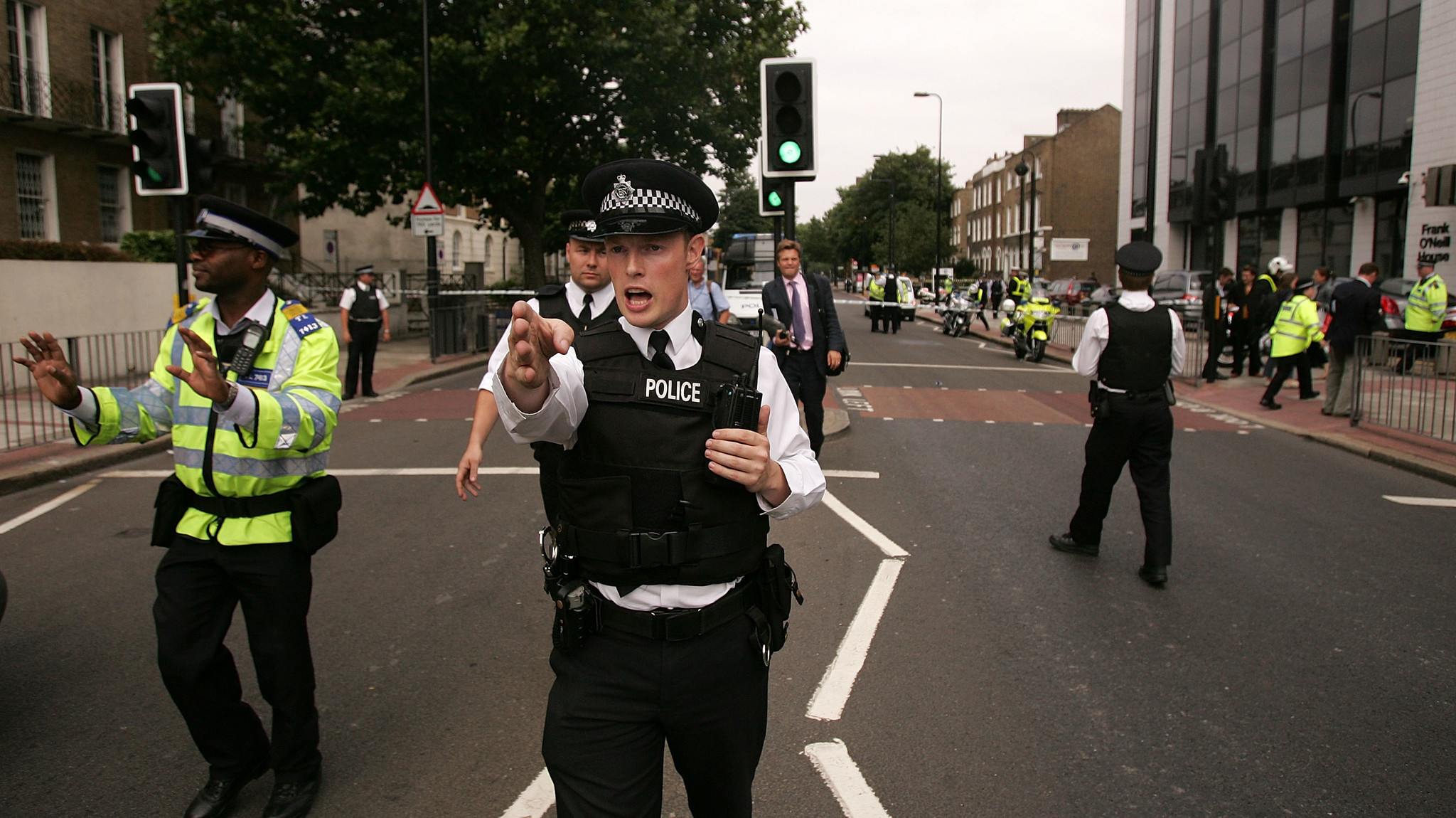 Police and Emergency services are seen outside the Oval Underground Station, one of three stations targeted with bombs on July 21, 2005, in London.