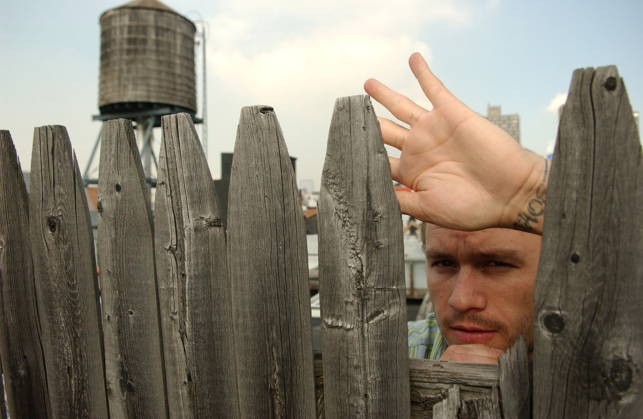 Actor Heath Ledger on a roof top in Manhattan, October 5, 2005.