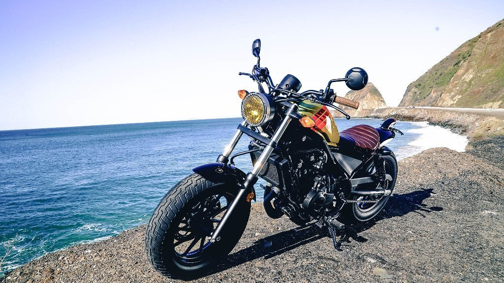 2017 Honda Rebel x Aviator Nation customized limited-edition cruiser with painted stripe detailing, hand-stitched leather seat and caged head lamp, starting at $14,000 with customization available. At Aviator Nation stores and rebel.honda.com.