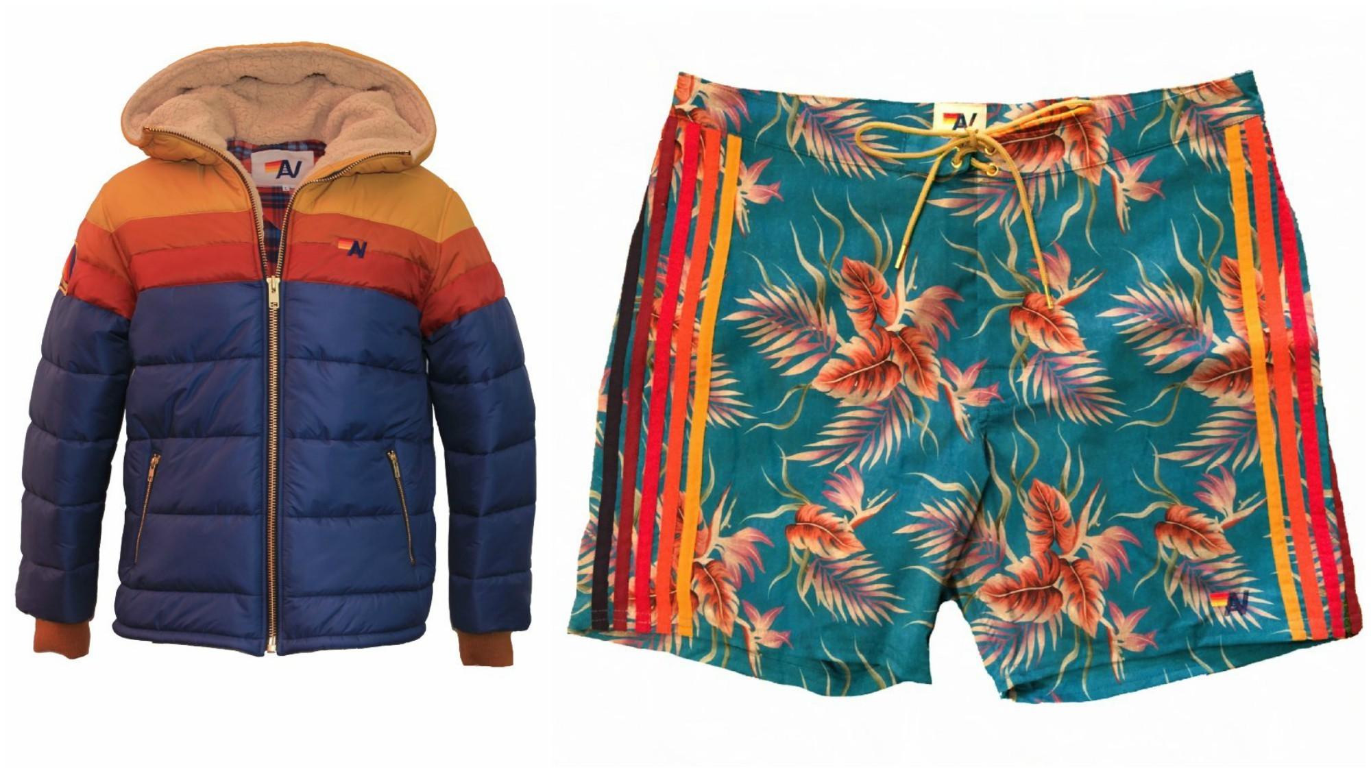 Aviator Nation unisex hooded Trekker puffer jacket with shearling lining, $649, and Aviator Nation men's Kauai Stripe board shorts, $159.99.