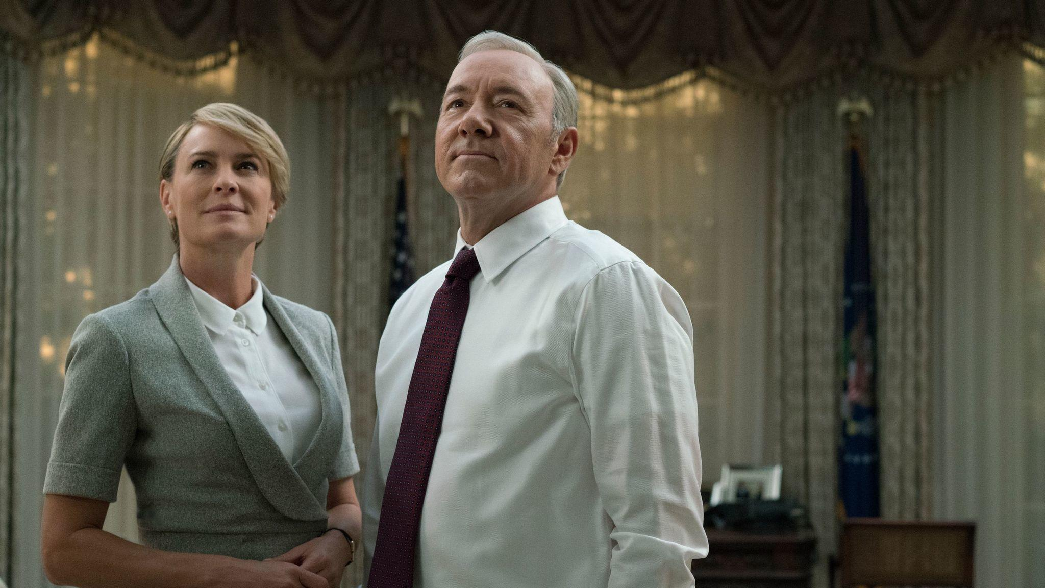 "Robin Wright and Kevin Spacey in the Netflix series ""House Of Cards."" (David Giesbrecht / Netflix)"