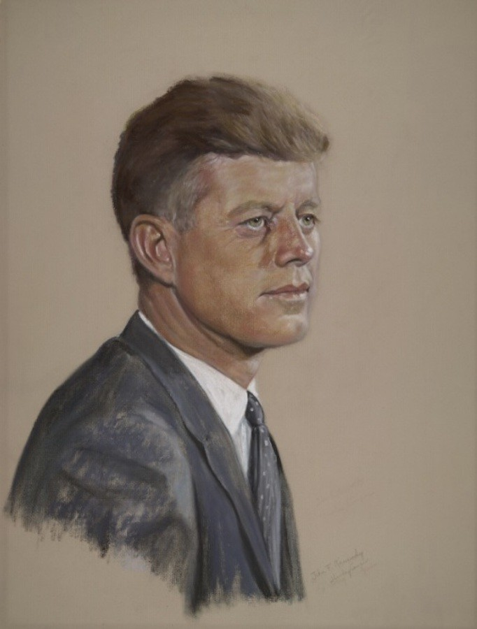 John F. Kennedy by Shirley Seltzer Cooper, pastel, 1961.