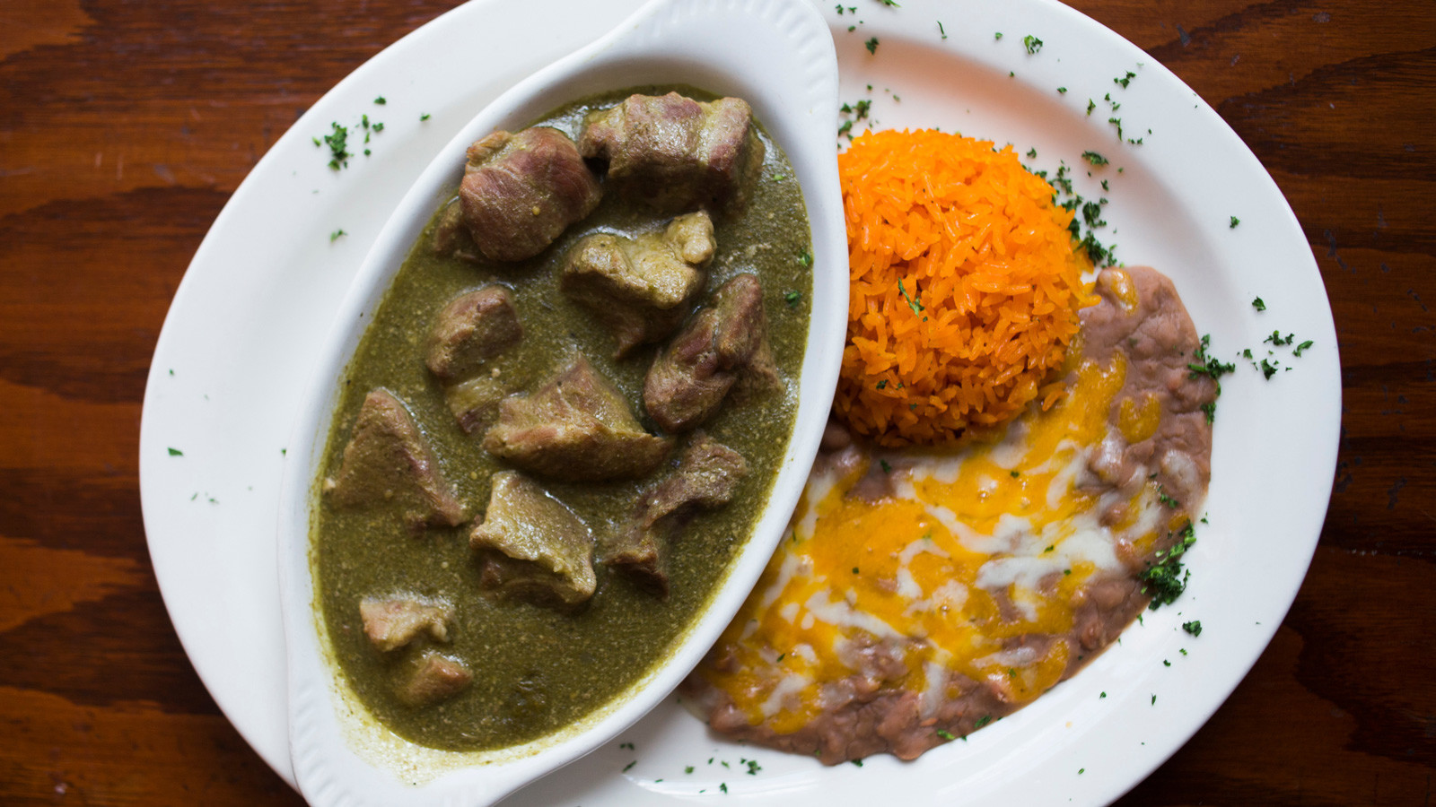Chile verde dish at Tamayo Restaurant and Art Gallery in Los Angeles.