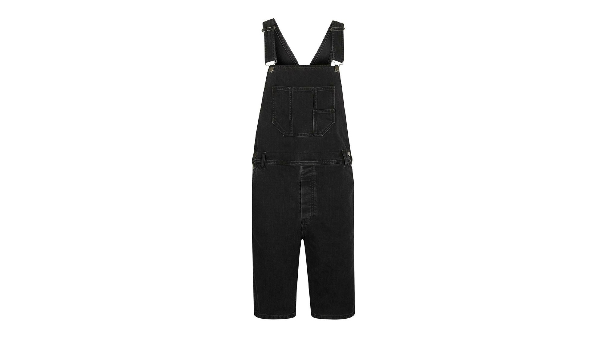Topman black denim short overalls.