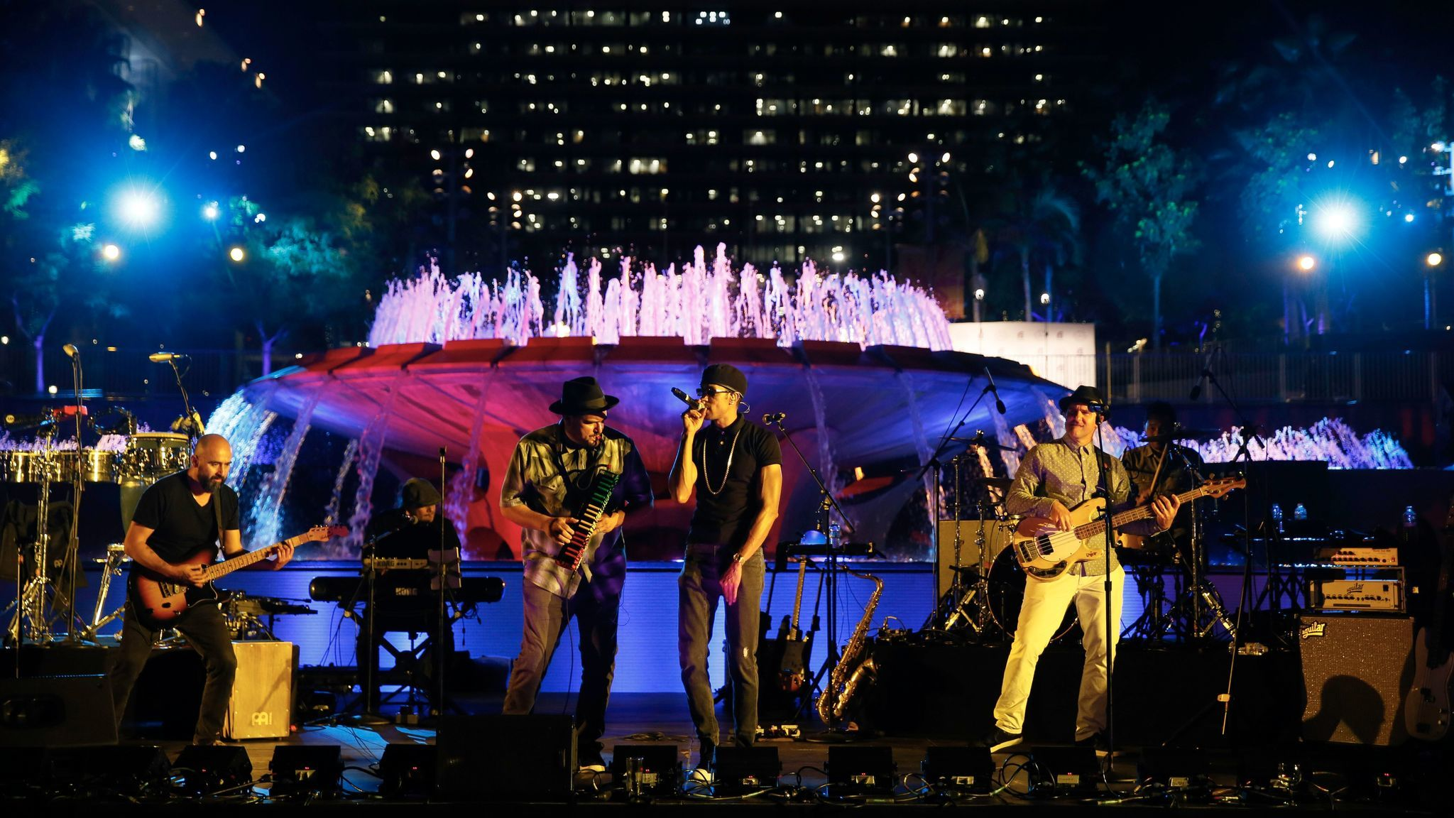 Ozomatli performs during part of Center Theatre Group's 50th anniversary celebration in Grand Park on May 20, 2017, in Los Angeles.