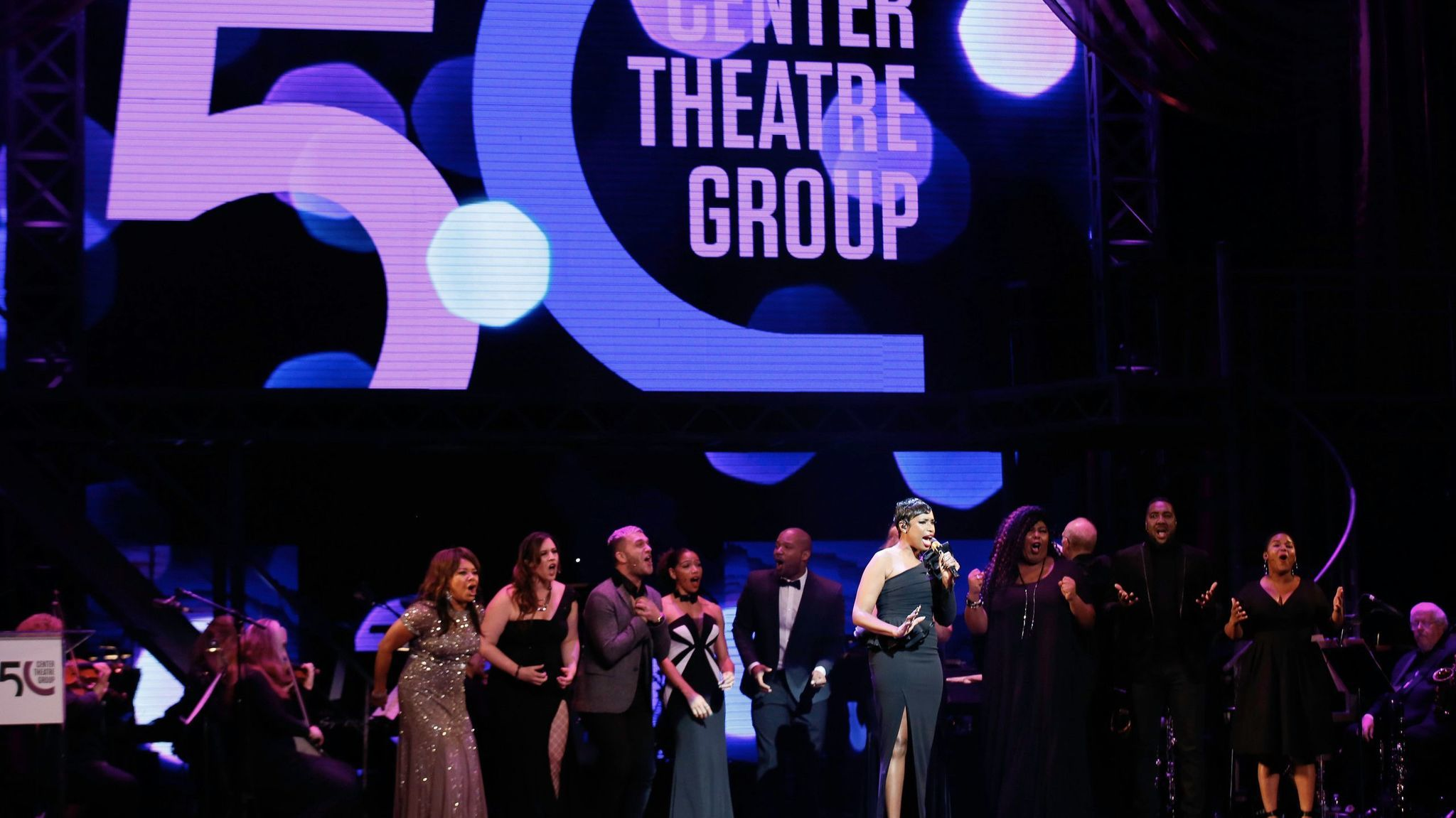 Jennifer Hudson, center, performs during Center Theatre Group''s golden anniversary celebration at the Ahmanson Theatre on May 20, 2017, in Los Angeles.