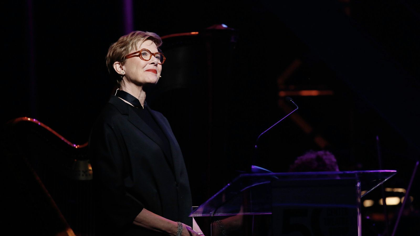 Annette Bening performs during Center Theatre Group's 50th anniversary fete at the Ahmanson.