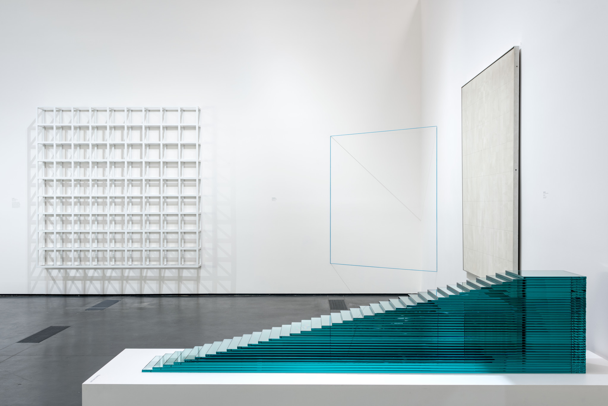 Minimalist works by Sol Lewitt, Fred Sandback, Agnes Martin and Robert Smithson are in the Dwan show.