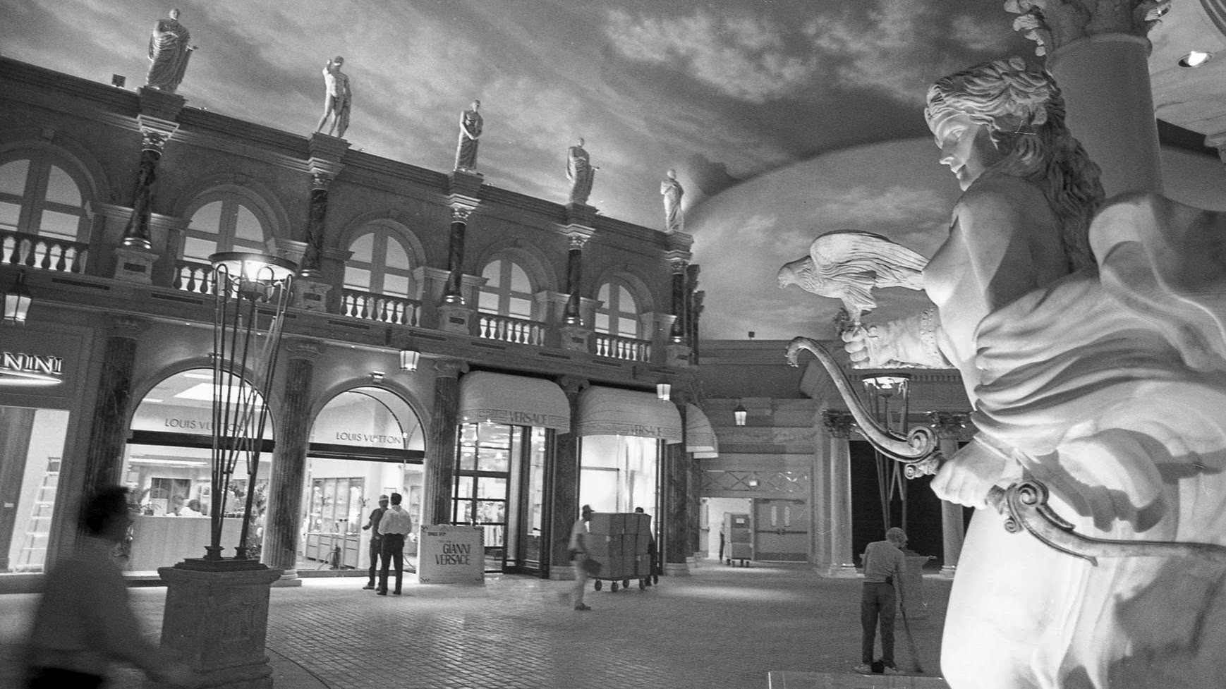 In early 1992, workers were putting the finishing touches on the Forum Shops. It was the Strip's first full-scale shopping center.