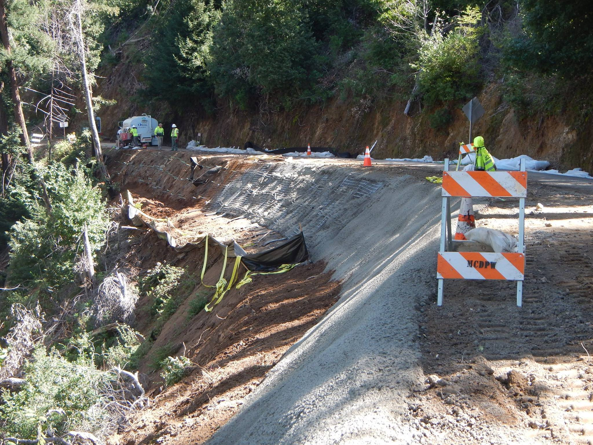 Reinforcement is added to Nacimiento-Fergusson Road in Los Padres National Forest in February.