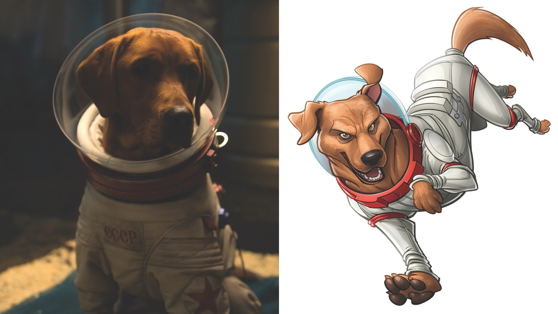 "Cosmo from the ""Guardians of the Galaxy"" movie and Cosmo in comic form."