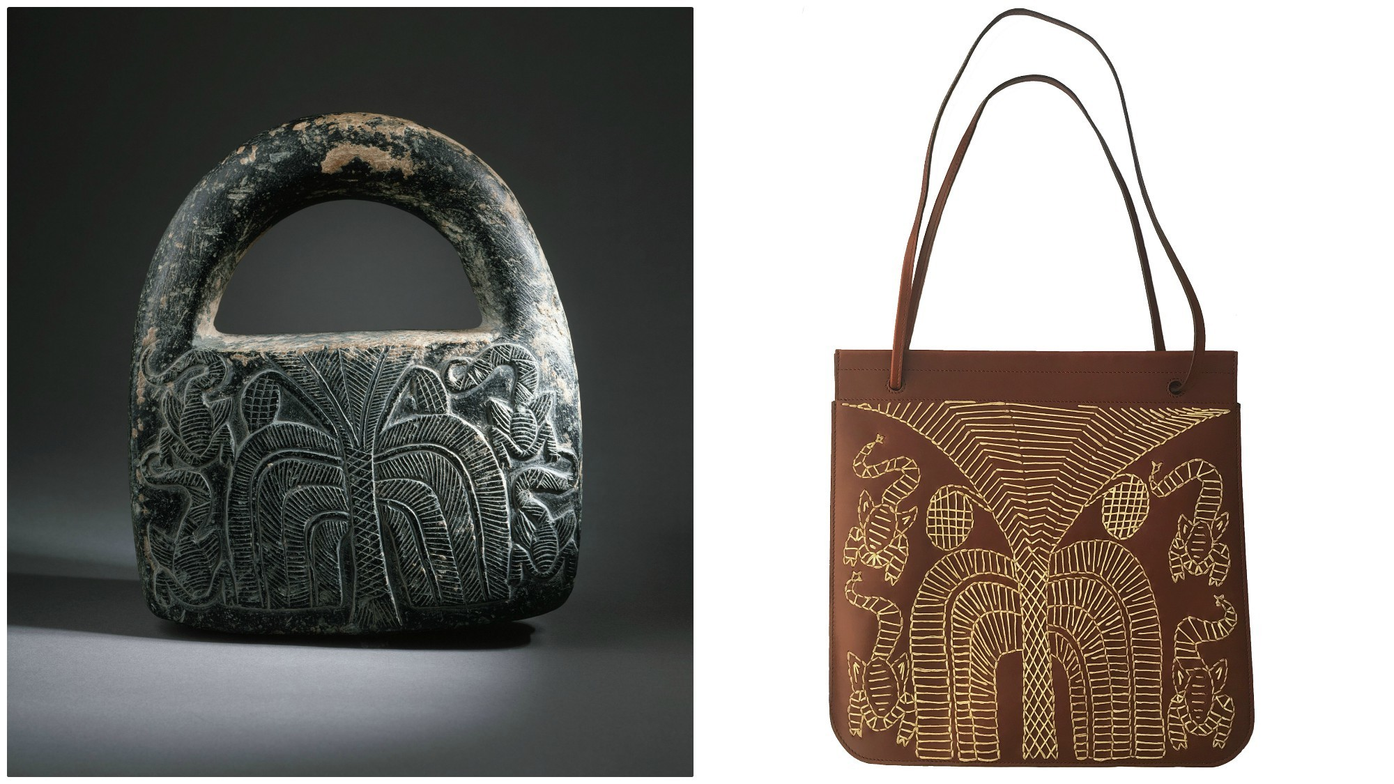 An ancient, handled weight from Afghanistan, left, was the inspiration for a shoulder bag, right, and two other items designed by Kendall Conrad for the latest Wear LACMA collection.