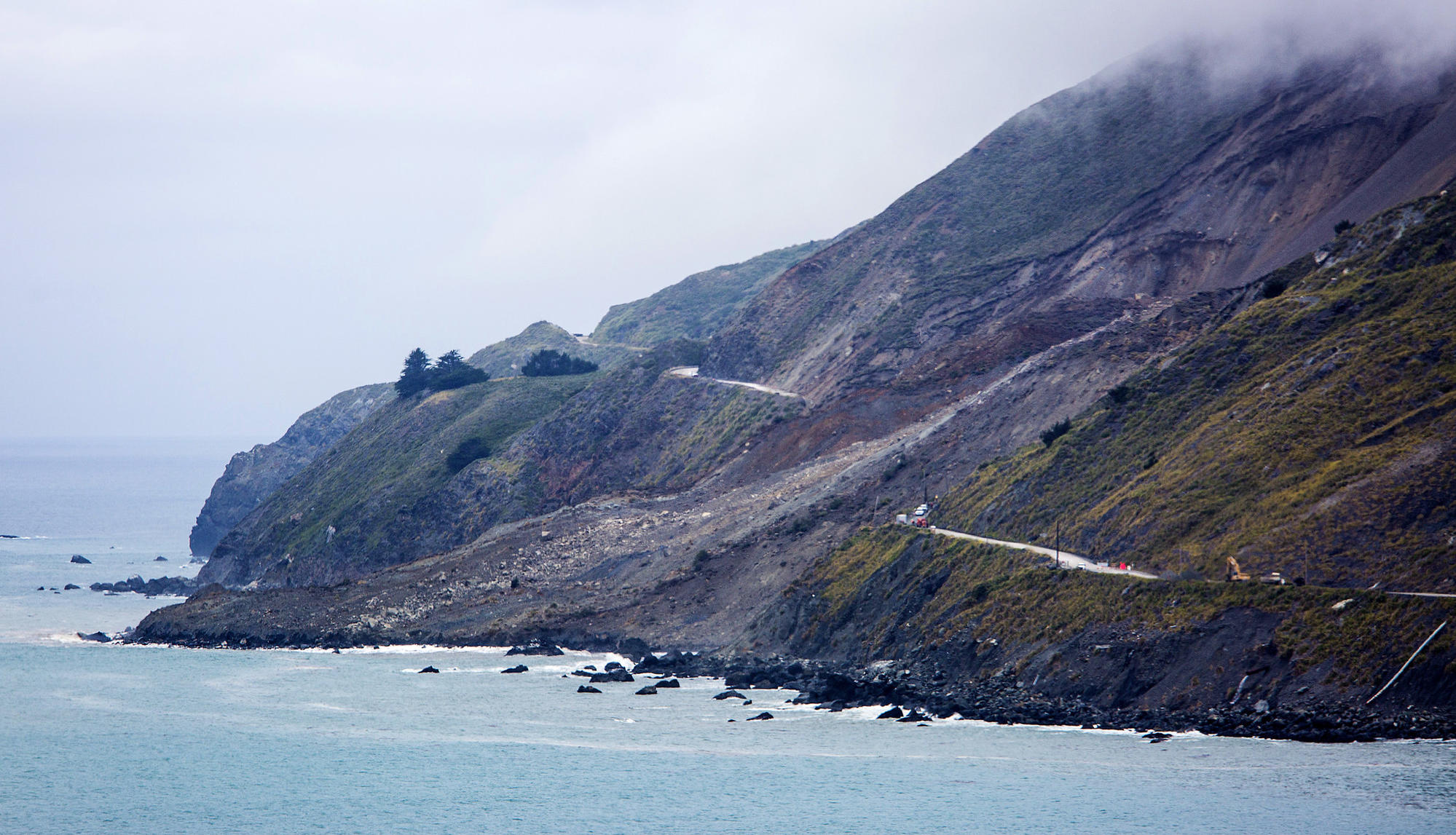 Highway 1 is cut in two where a massive landslide obliterated the road north of Ragged Point.