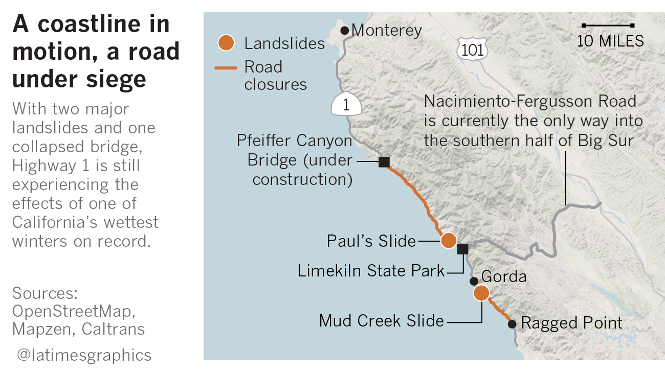 Highway One California Map.More Than 1 Million Tons Of Rock And Dirt Have To Be Moved Off