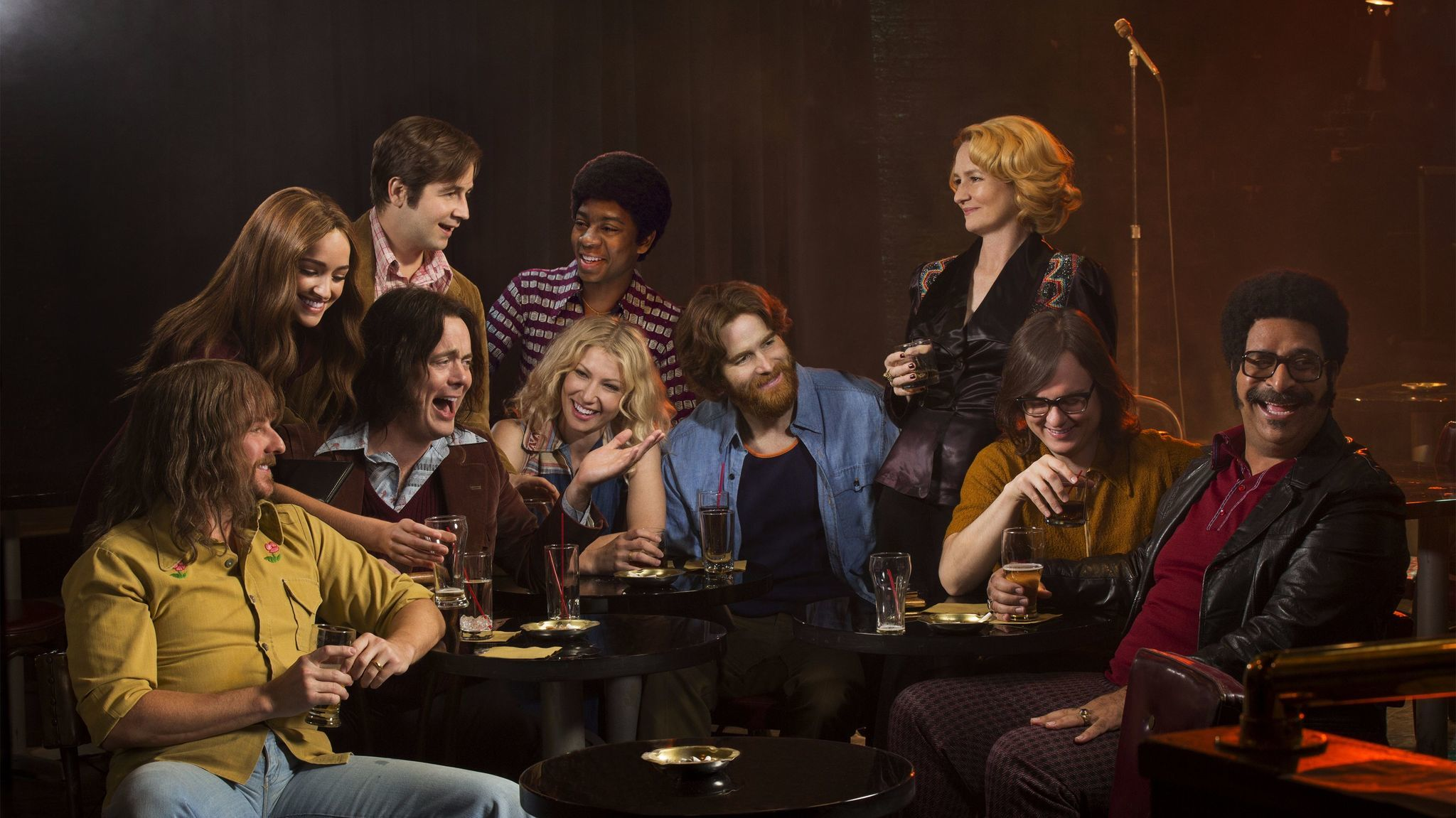 Brianne Howey as Kay, Michael Angarano as Eddie, RJ Cyler as Adam and Melissa Leo as Goldie; (seated) Stephen Guarino as Sully, Jon Daly as Arnie, Ari Graynor as Cassie, Andrew Santino as Bill, Clark Duke as Ron and Erik Griffin as Ralph in Showtime's series