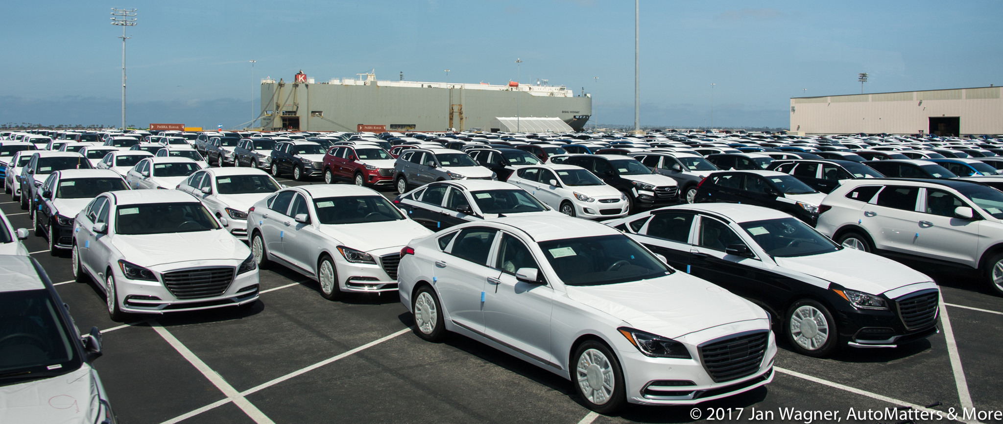 New vehicles unloaded at the Port of San Diego