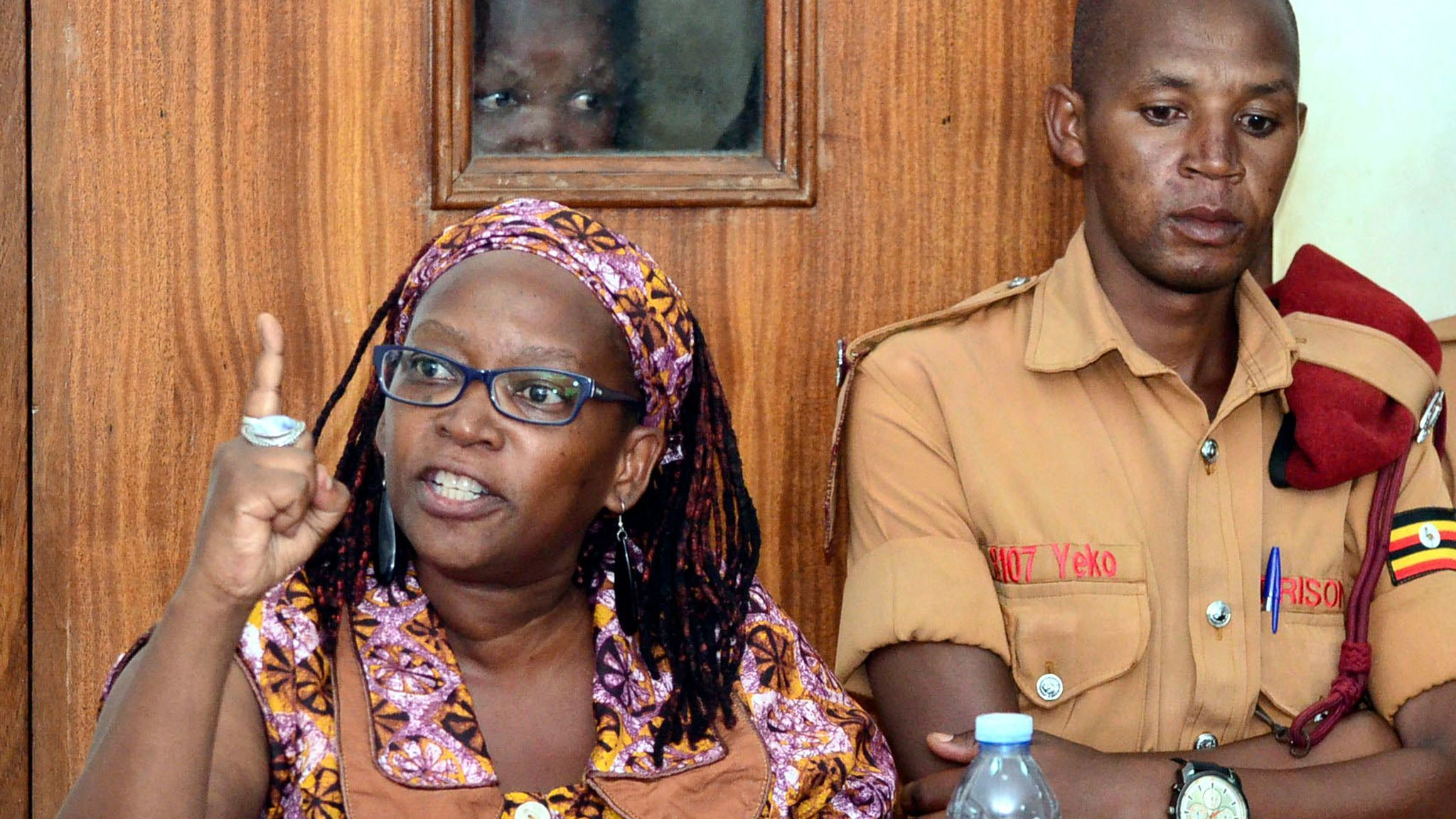 Ugandan academic and activist Stella Nyanzi appears in court in April, charged with insulting the president and his wife in a Facebook post.