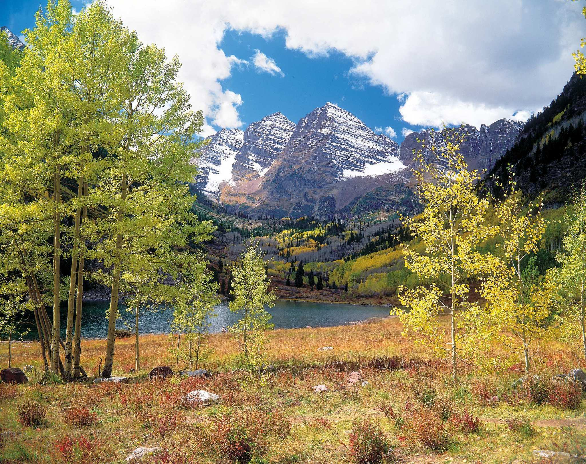 Maroon Bells, a popular sight to photograph.