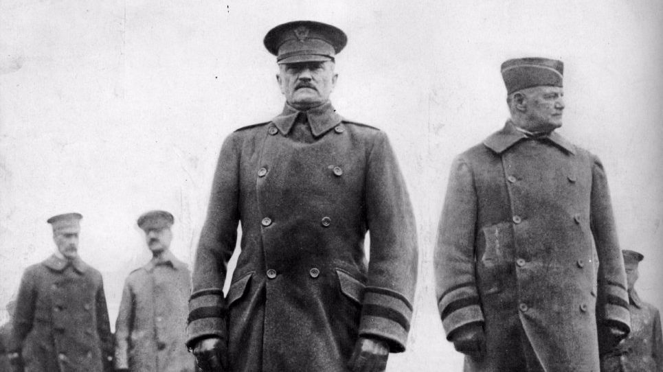 "Army Gen. John Joseph ""Black Jack"" Pershing, center, led the American Expeditionary Forces in World War I."